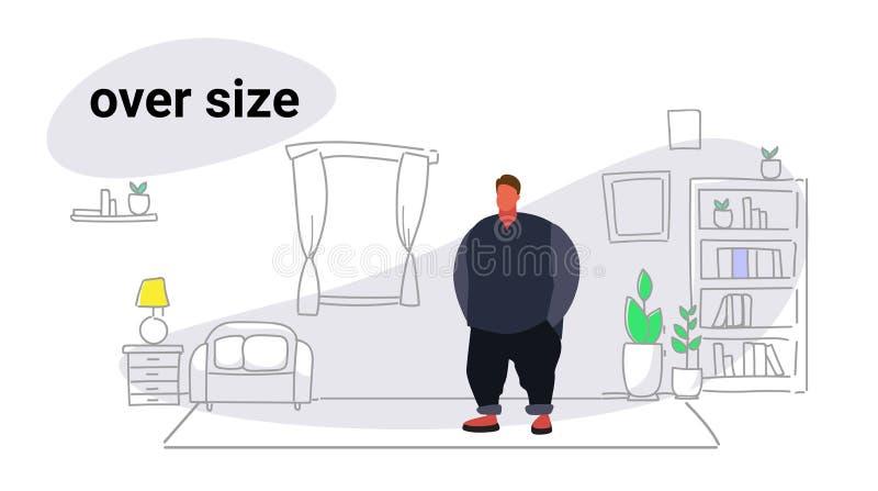 Obésité grasse de type de gros homme de poids excessif d'abdomen au-dessus d'intérieur moderne de salon de mode de vie malsain de illustration stock