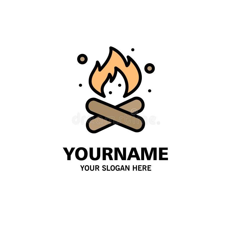 Obóz, camping, ogień, Gorący, natura logo Biznesowy szablon p?aski kolor ilustracji