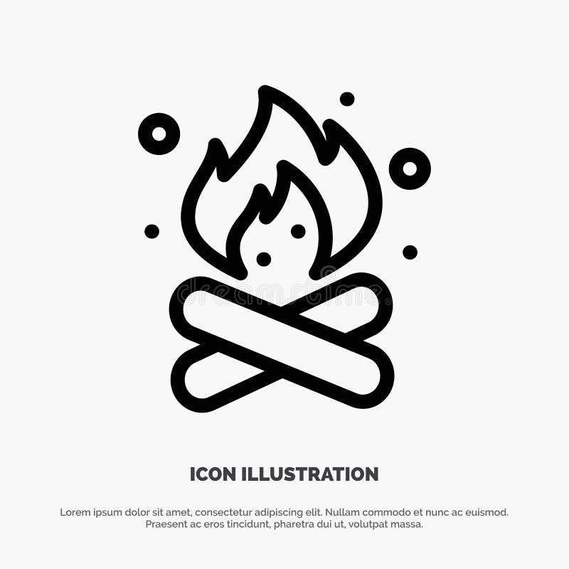 Obóz, camping, ogień, Gorący, natury ikony Kreskowy wektor royalty ilustracja