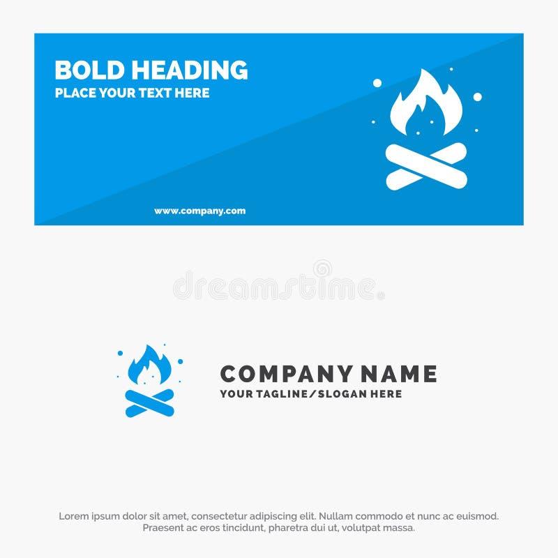 Obóz, camping, ogień, stały ikony strony internetowej sztandar i biznesu logo szablon, Gorący, natura, ilustracja wektor
