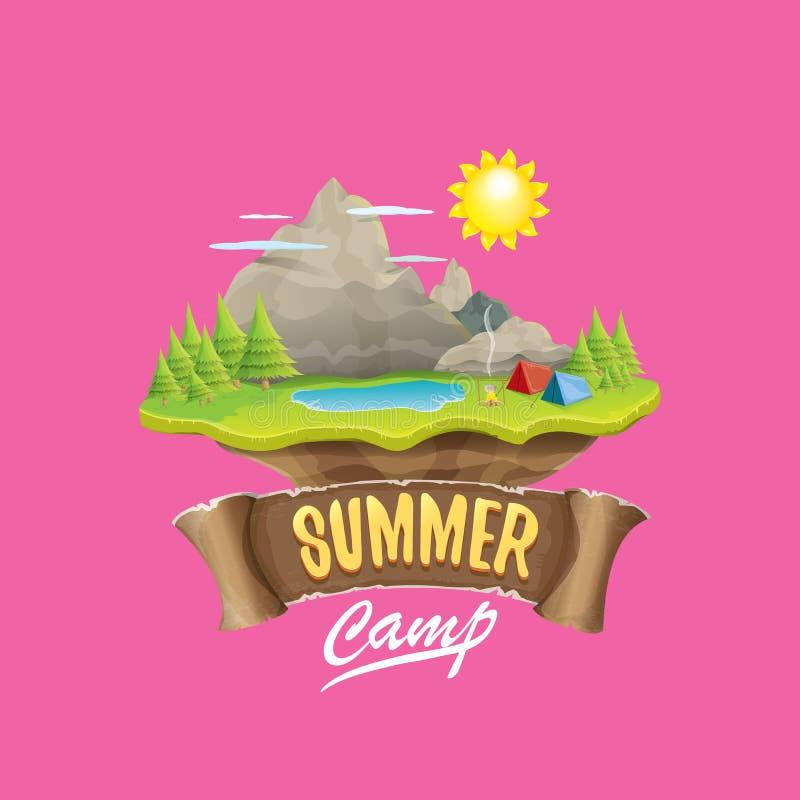 Obóz letni żartuje loga pojęcia ilustrację z zieloną doliną, góry, drzewa, słońce, chmury, obozu ogień, campingowy namiot i ilustracji