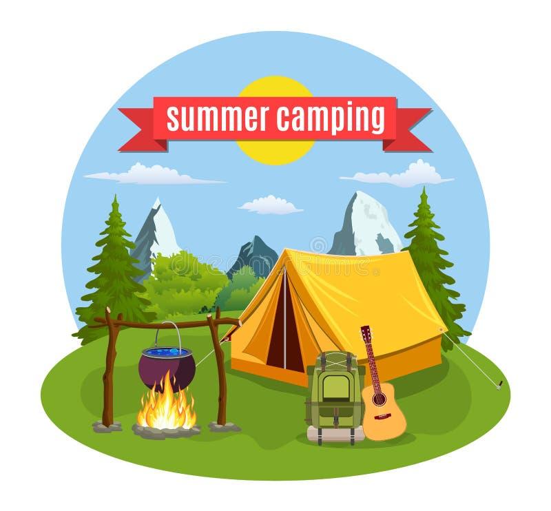 Obóz letni Krajobraz z żółtym namiotem, royalty ilustracja