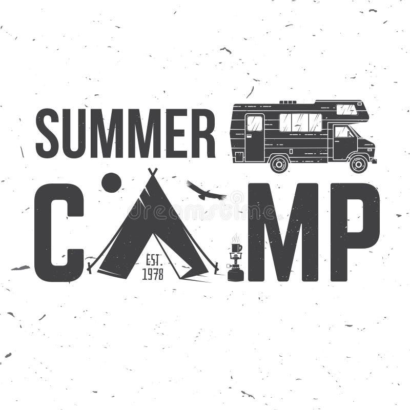 Obóz letni również zwrócić corel ilustracji wektora Pojęcie dla koszula, logo, druk, znaczek lub trójnik, royalty ilustracja