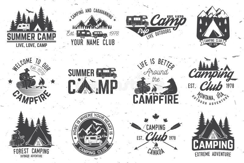 Obóz letni również zwrócić corel ilustracji wektora Pojęcie dla koszula, logo, druk, znaczek lub trójnik, ilustracja wektor
