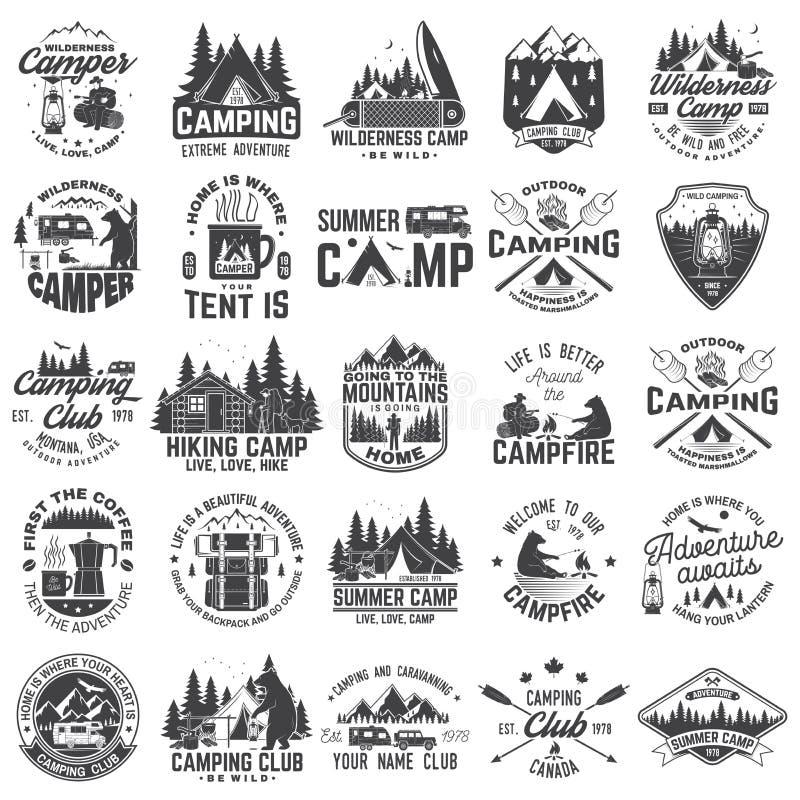 Obóz letni wektor Pojęcie dla koszula lub łaty, druk, znaczek Rocznik typografii projekt z rv przyczepą, campingowy namiot ilustracji