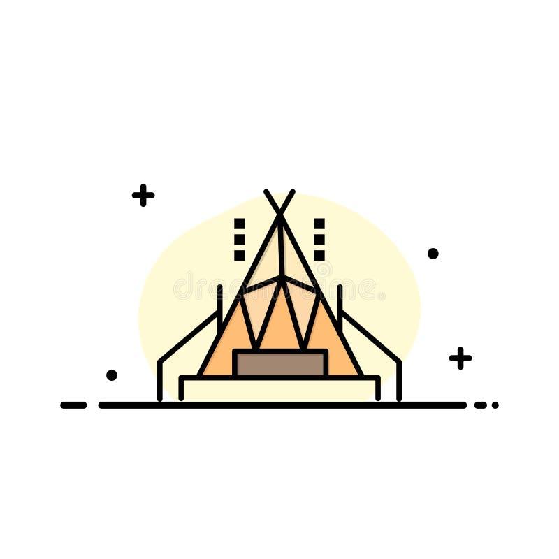 Obóz, namiot, Campingowy Biznesowy logo szablon p?aski kolor royalty ilustracja