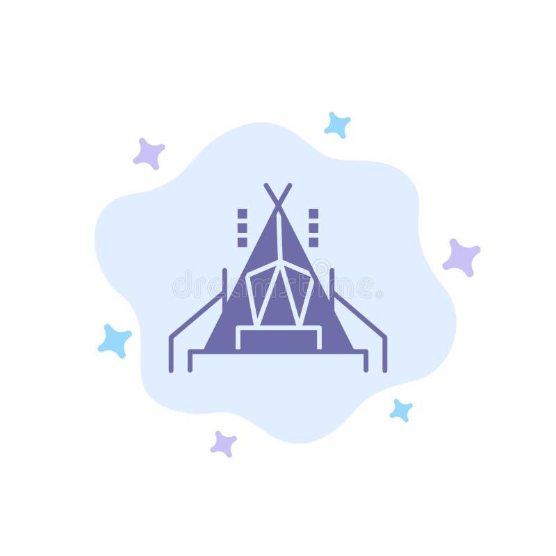 Obóz, namiot, Obozuje Błękitna ikona na abstrakt chmury tle ilustracja wektor