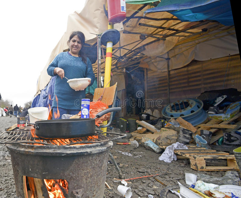 Obóz uchodźców Grande w Francja obraz stock