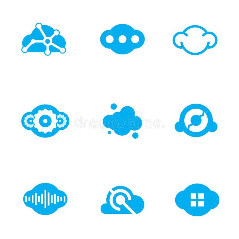 Obłoczna błękitna technologia przyszłościowej nauki projekta loga podaniowe ikony ilustracja wektor
