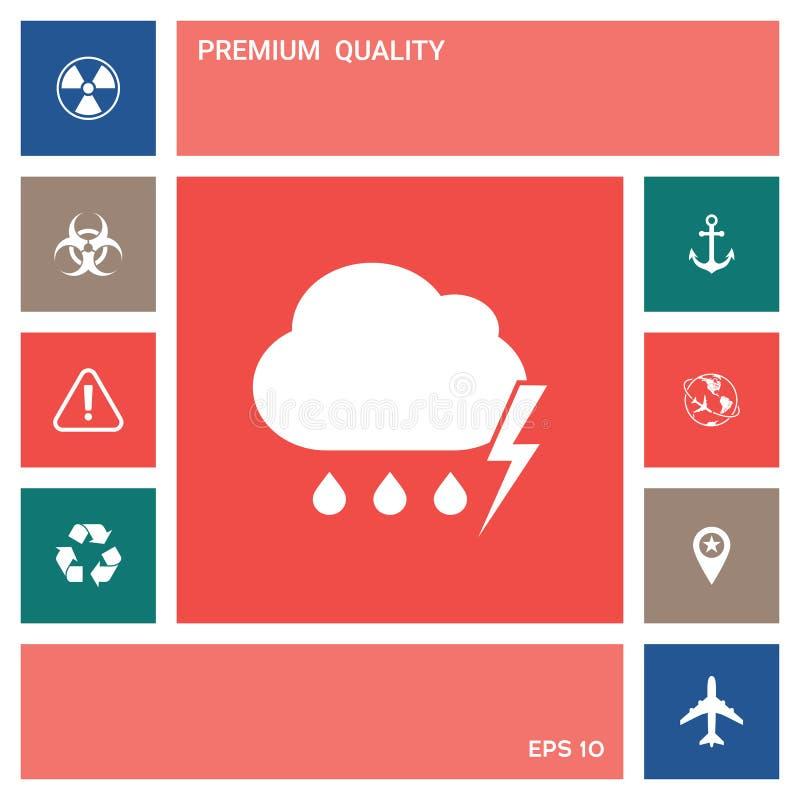 Obłoczna burzy błyskawicy deszczu ikona elementy projektów galerii ikony widzą odwiedzić twój więcej moich piktogramy proszę ilustracja wektor