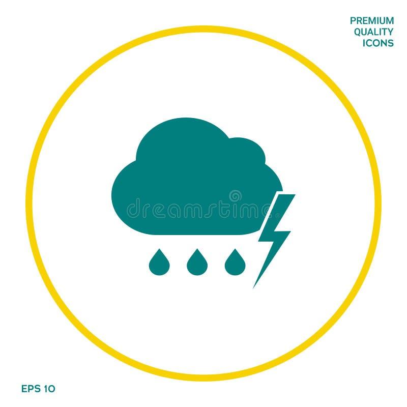 Obłoczna burzy błyskawicy deszczu ikona Graficzni elementy dla twój projekta royalty ilustracja