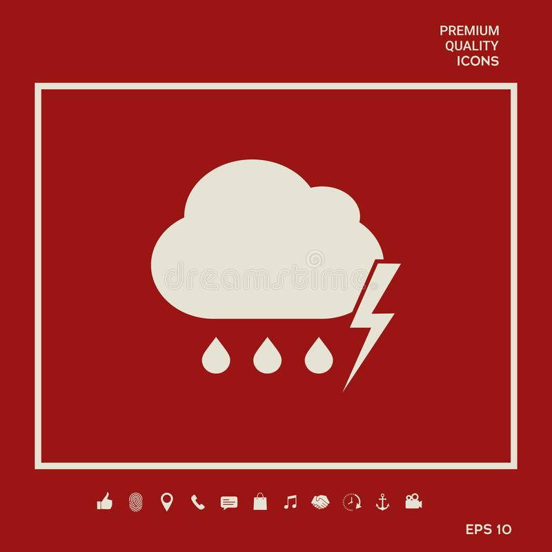 Obłoczna burzy błyskawicy deszczu ikona Graficzni elementy dla twój projekta ilustracja wektor