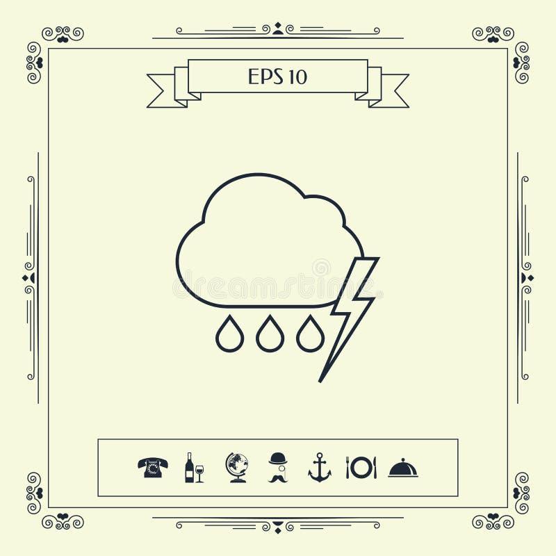 Obłoczna burzy błyskawicy deszczu linii ikona ilustracji