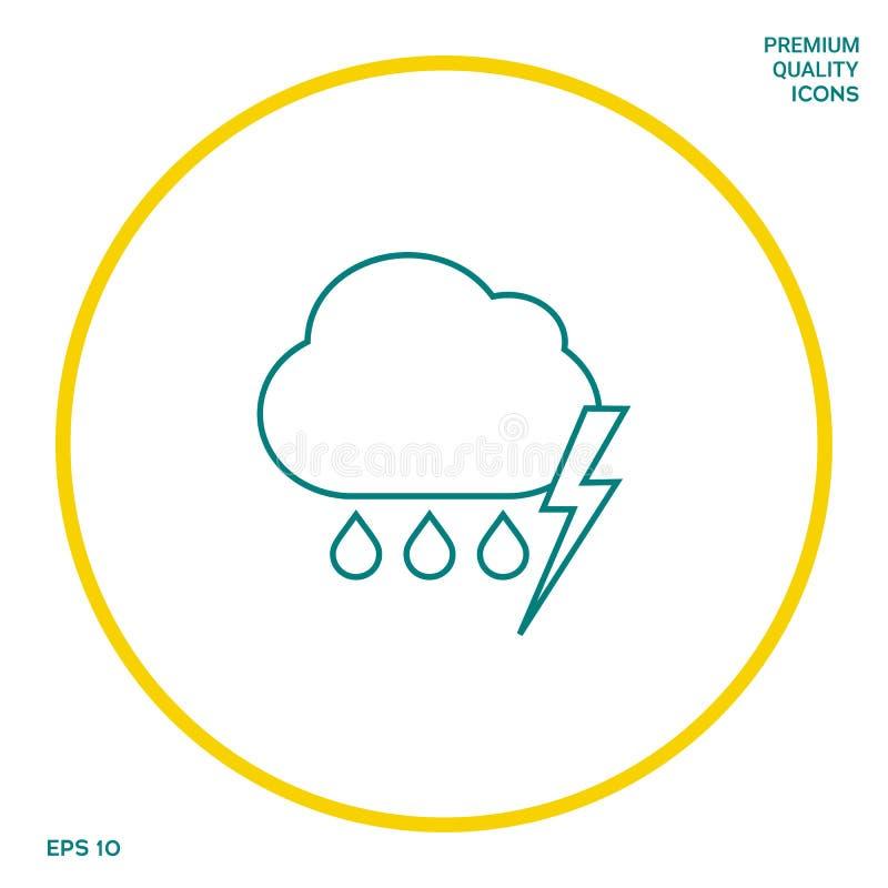 Obłoczna burzy błyskawicy deszczu linii ikona Graficzni elementy dla twój projekta ilustracji