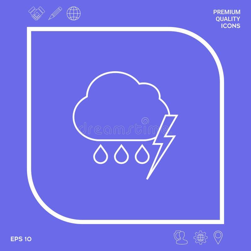 Obłoczna burzy błyskawicy deszczu linii ikona Graficzni elementy dla twój projekta ilustracja wektor