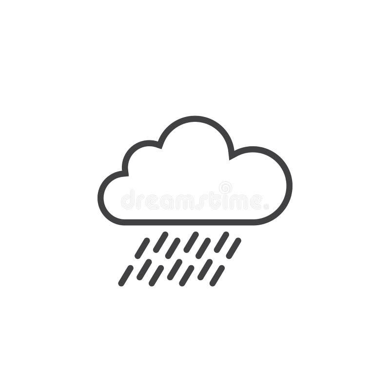 obłoczna deszcz linii ikona, konturu loga ilustracja, liniowy p royalty ilustracja