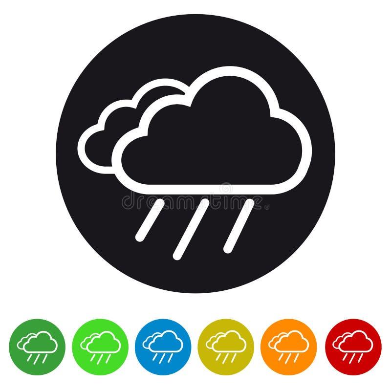 Obłoczna I Podeszczowa Płaska ikona Dla - Kolorowe Wektorowe ikony ilustracji