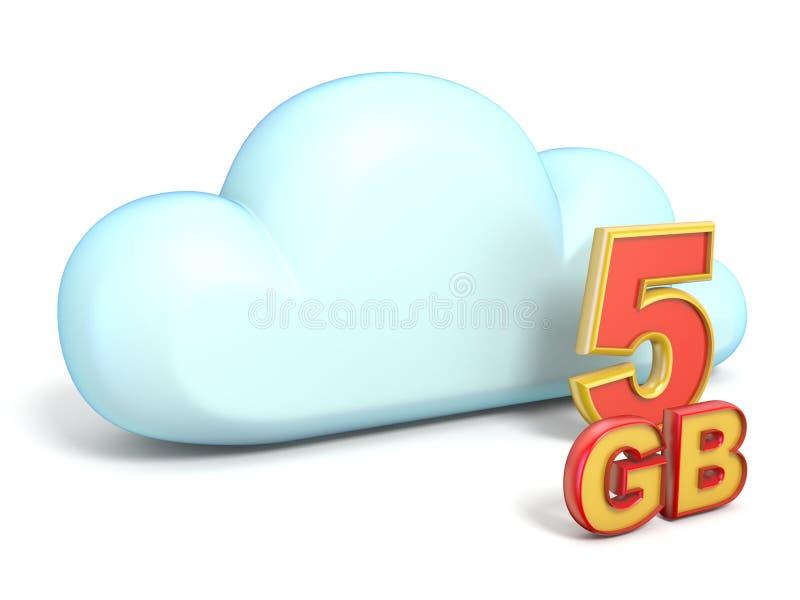 Obłoczna ikona 5 GB ładowności 3D ilustracja wektor