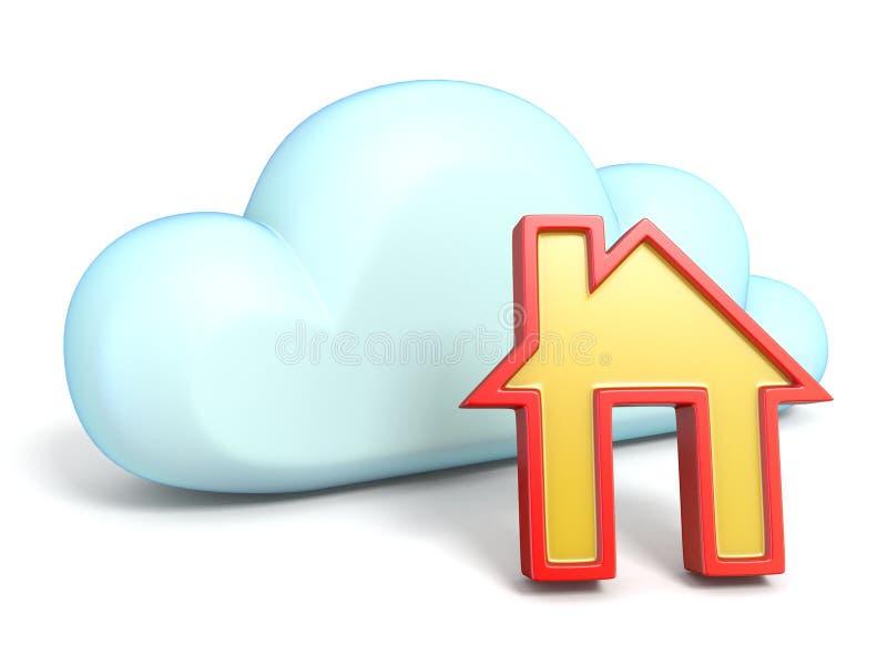 Obłoczna ikona z domem 3D ilustracja wektor