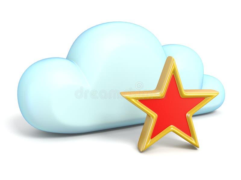 Obłoczna ikona z gwiazdą 3D ilustracja wektor