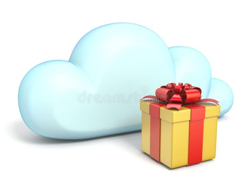 Obłoczna ikona z prezenta pudełkiem 3D royalty ilustracja