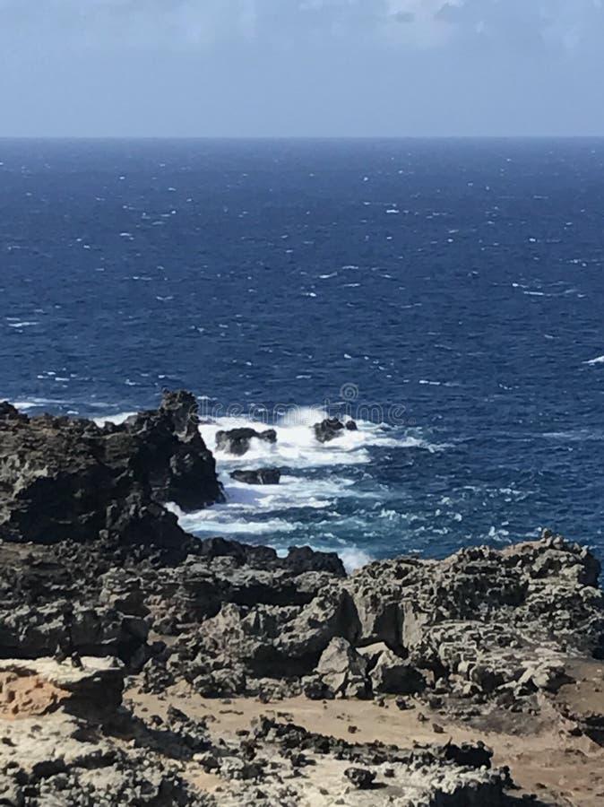 obłoczna oceanu nieba widok woda fotografia stock