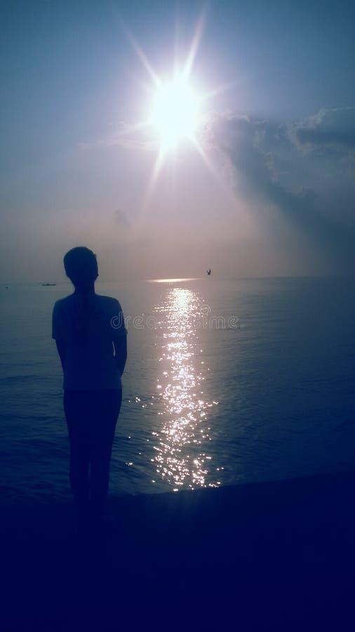 obłoczna oceanu nieba widok woda zdjęcia royalty free