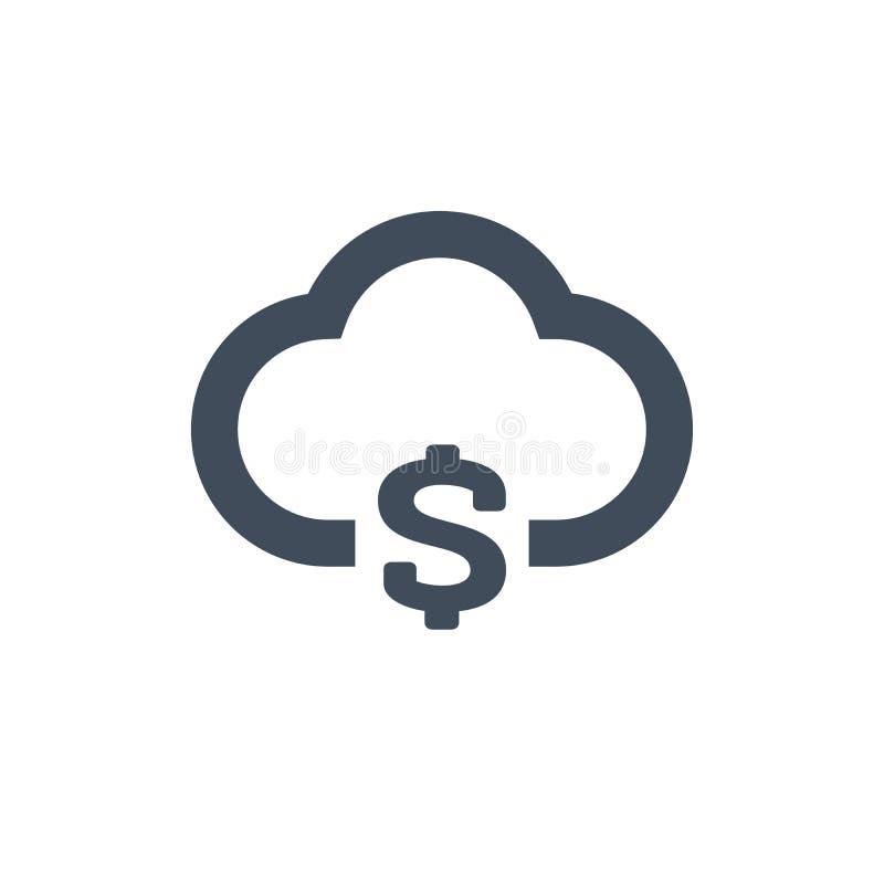 Obłoczna pieniądze linii ikona Dolarowy symbol, moneta, kosztu Finansowy pojęcie Może używać dla tematów jak biznes, finansowy za royalty ilustracja
