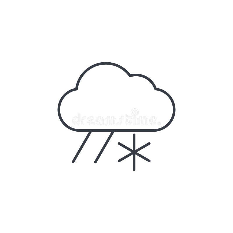 Obłoczna pogody, śniegu i deszczu cienka kreskowa ikona, Liniowy wektorowy symbol ilustracji