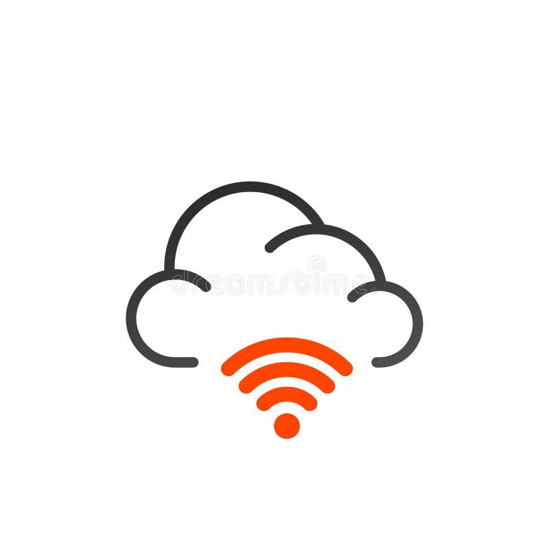 obłoczna wifi ikona używać w sieci UI i wiszącej ozdobie Wektorowa ilustracja odizolowywająca na biały tle ilustracja wektor