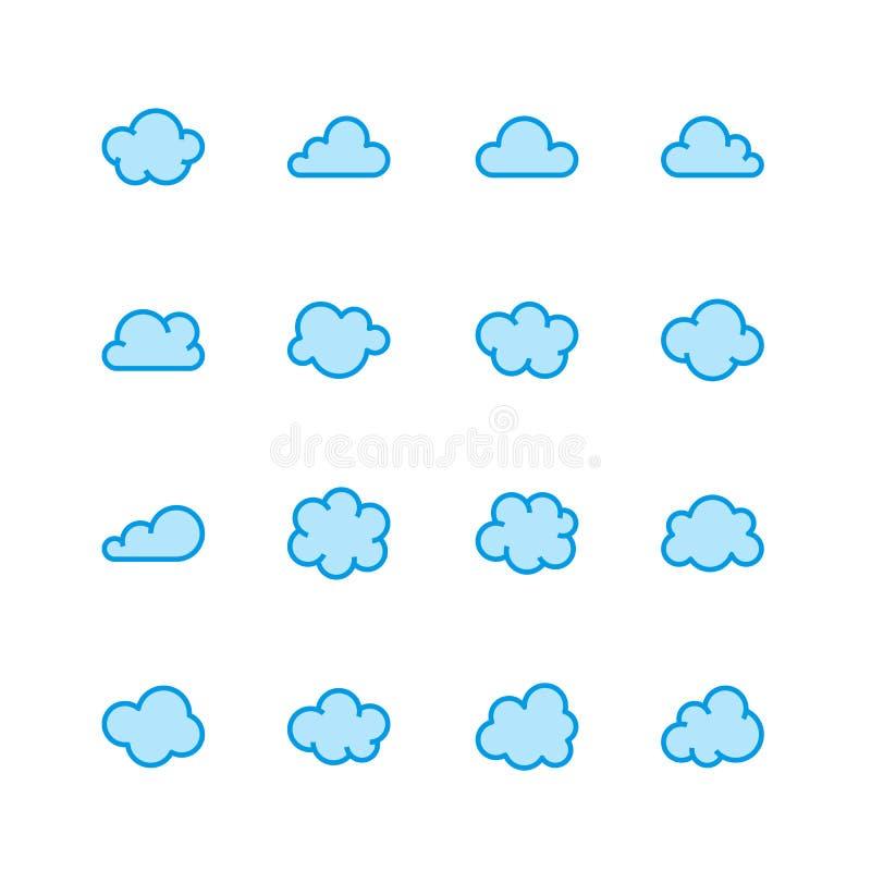 Obłoczne mieszkanie linii ikony Chmurnieje symbole dla przechowywania danych, prognoza pogody Ciency znaki dla gościć Piksel perf ilustracja wektor
