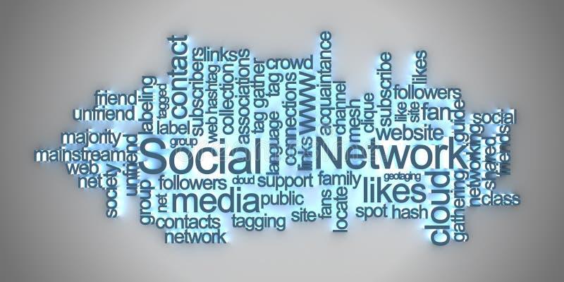 obłocznej sieci ogólnospołeczna etykietka ilustracja wektor