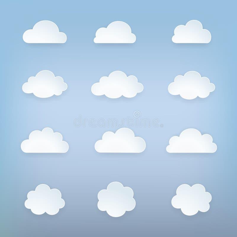 Obłoczny ikona set Grupa niebo elementy Obłoczne sylwetki inkasowe Odosobniony obłoczny symbol Śliczne kreskówki chmury ikony ilustracja wektor
