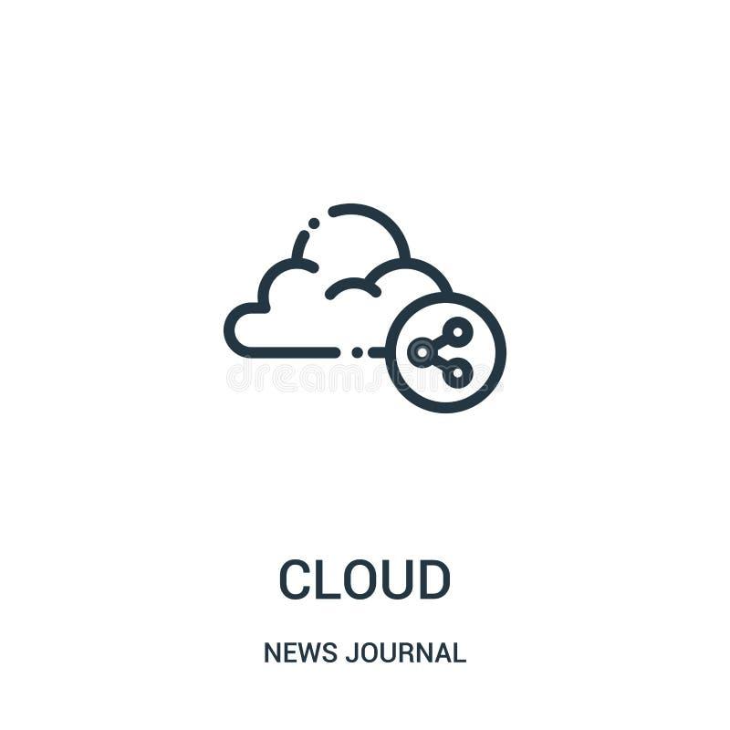 obłoczny ikona wektor od wiadomości czasopisma kolekcji Cienka linii chmury konturu ikony wektoru ilustracja Liniowy symbol dla u royalty ilustracja