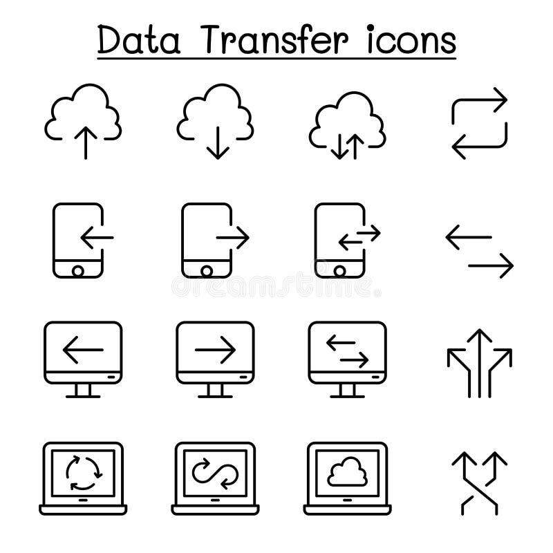 Obłoczny komputer, dane przekaz, dane kopalnictwo, dane magazyn, ściąganie, upload ikona ustawiająca w cienkim kreskowym stylu ilustracja wektor
