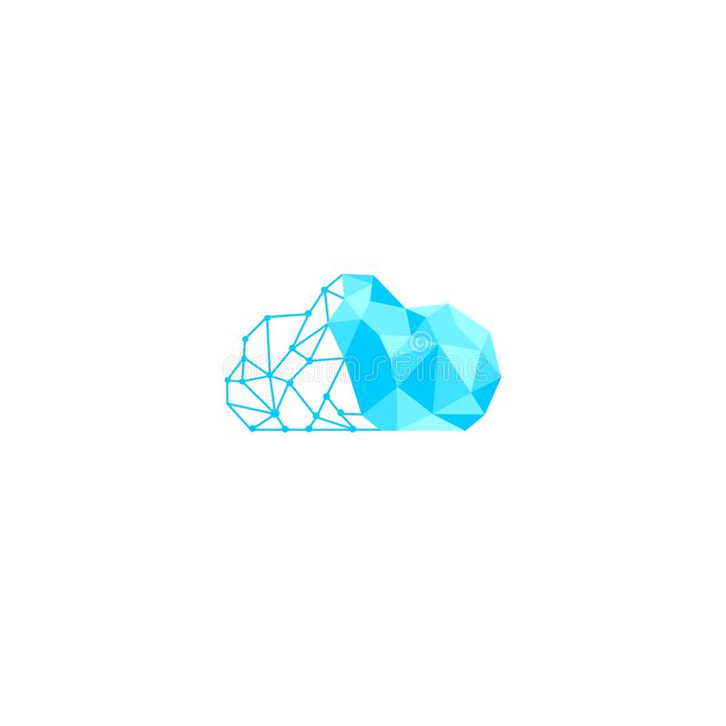 Obłoczny logo projekt w jaskrawym błękicie, ilustracji