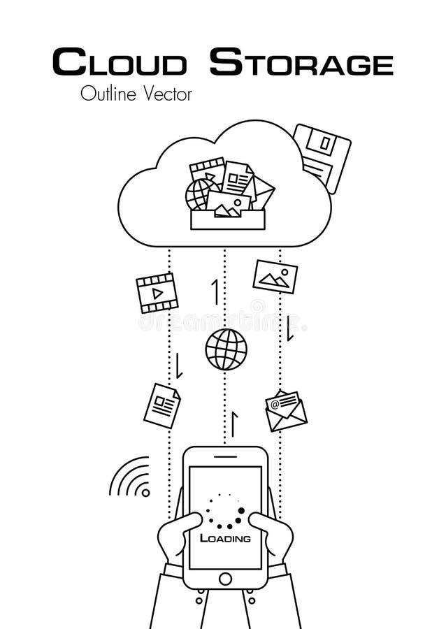 Obłoczny magazyn Osoby use telefon ściągać więcej kartotekę od obłocznego serweru Konturu styl Płaski projekt royalty ilustracja