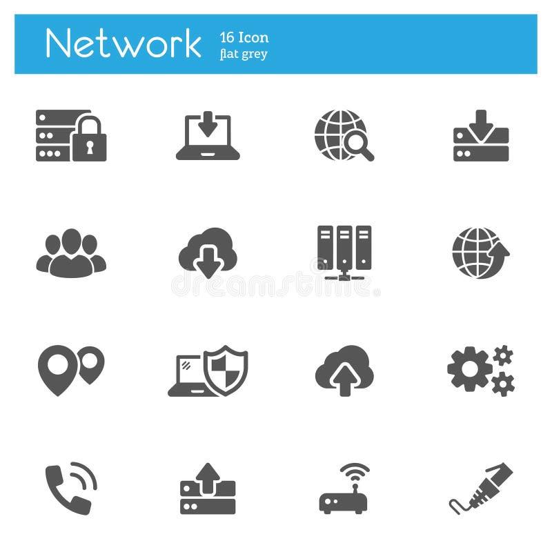 Obłoczny obliczać, dane Internetowego technologyflat szare ikony ustawiać 16 przekaz ilustracji