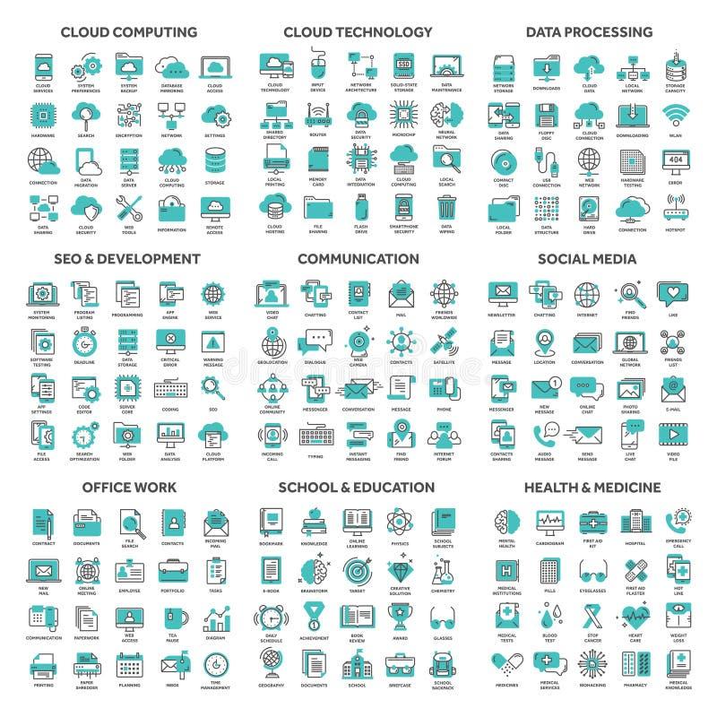 Obłoczny obliczać i technologii dane magazyn Seo, rozwój Ogólnospołeczny sieci komunikacji połączenie z internetem e - mail ilustracji
