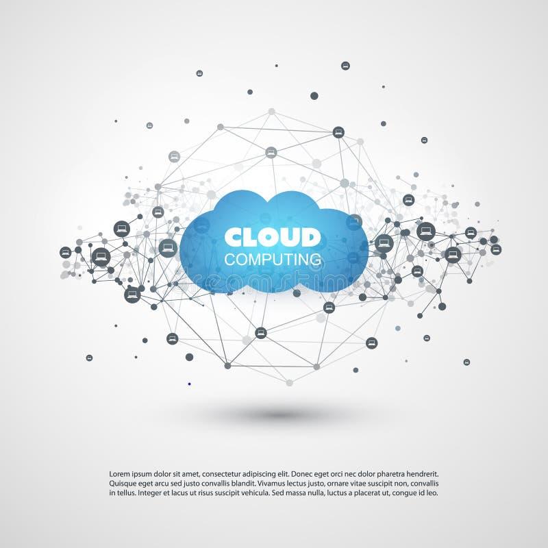 Obłoczny Oblicza projekta pojęcie z wielobokiem - Globalni Cyfrowej sieci związki, technologii tło ilustracja wektor