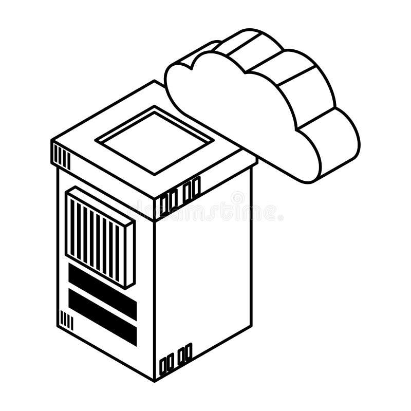Obłoczny oblicza technologii 3d symbol w czarny i biały royalty ilustracja
