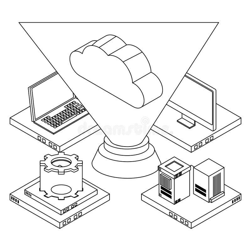 Obłoczny oblicza technologii 3d symbol w czarny i biały ilustracji