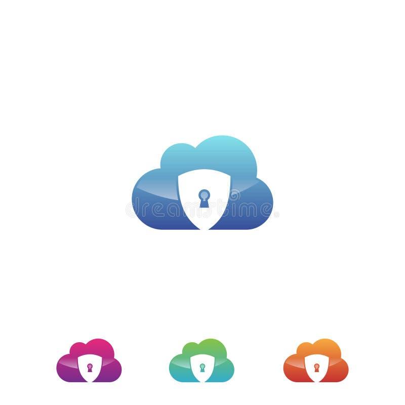 Obłoczny ochrona dane ikony wektor w nowożytnym stylu dla sieci, grafiki i mobilnego projekta, ilustracji