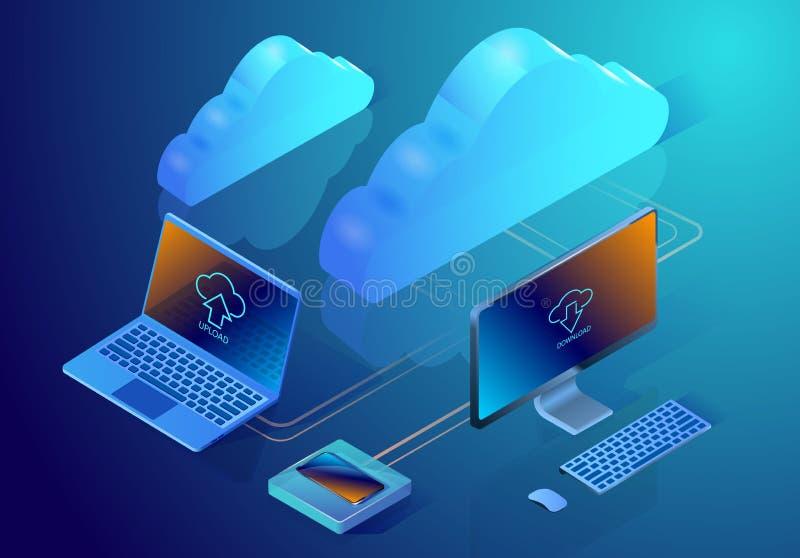 Obłoczny przechowywanie danych Isometric wektorowy ilustracyjny przedstawia pojęcie online dane gościć Cyfrowych chmury i przyrzą ilustracji