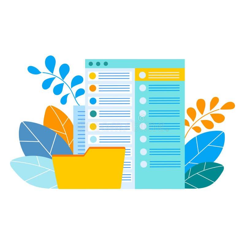 Obłoczny składowy pojęcie, dane - przetwarzający, wiadomości dosłanie, documen royalty ilustracja