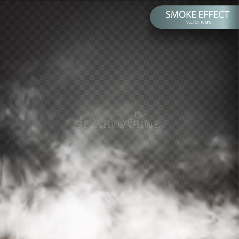 Obłoczny skutek na przejrzystym wektorowym tle realistycznym Obłoczny wektor Mgły lub dymu przejrzysty dodatek specjalny ilustracji
