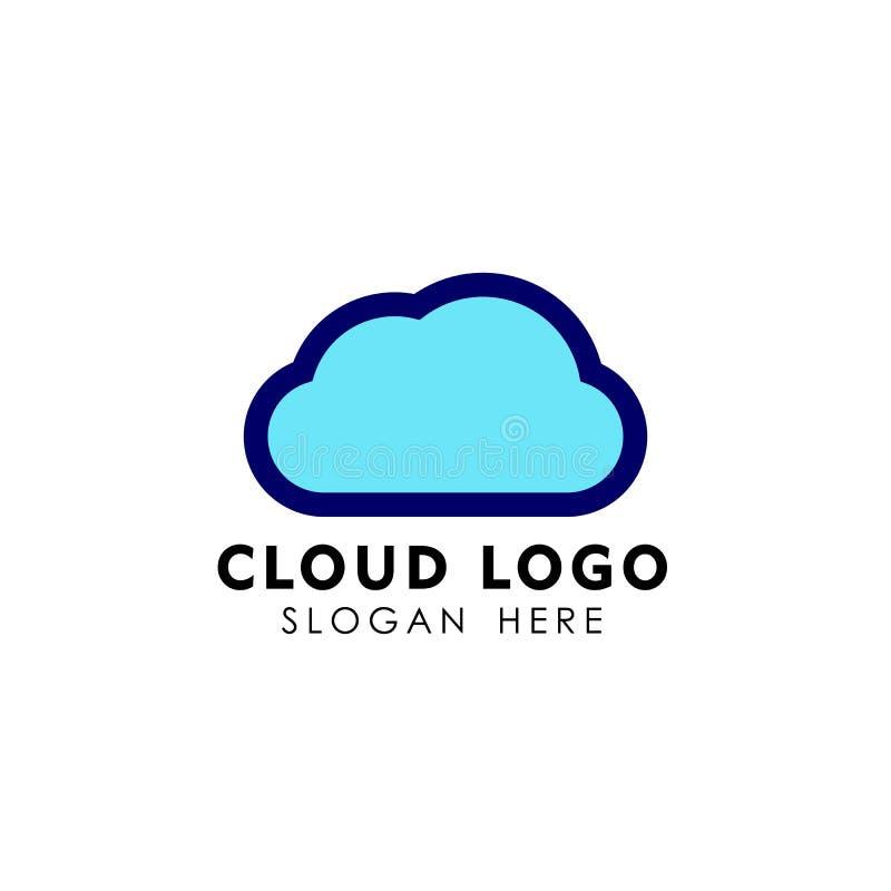 Obłoczny technika loga projekt w kreskowej sztuki stylu obłoczna loga projekta wektoru ikona ilustracji