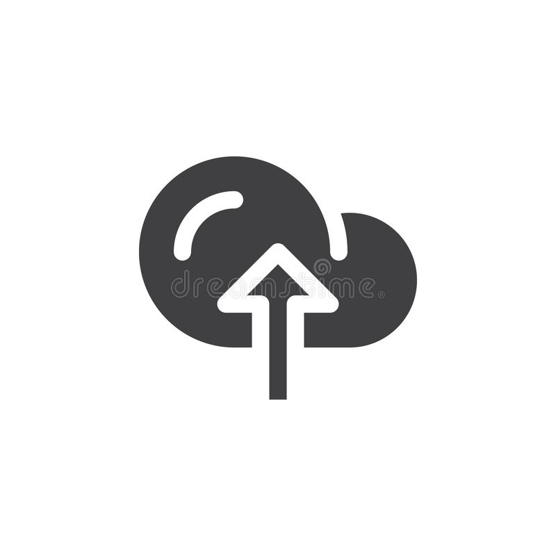 Obłoczny upload ikony wektor, wypełniający mieszkanie znak, stały piktogram odizolowywający na bielu royalty ilustracja
