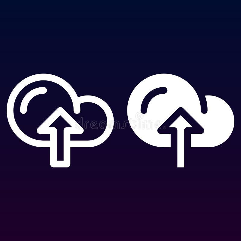Obłoczny upload kreskowy, stała ikona, kontur i piktogram odizolowywający na bielu, wypełniający wektoru znaka, liniowego i pełne ilustracji