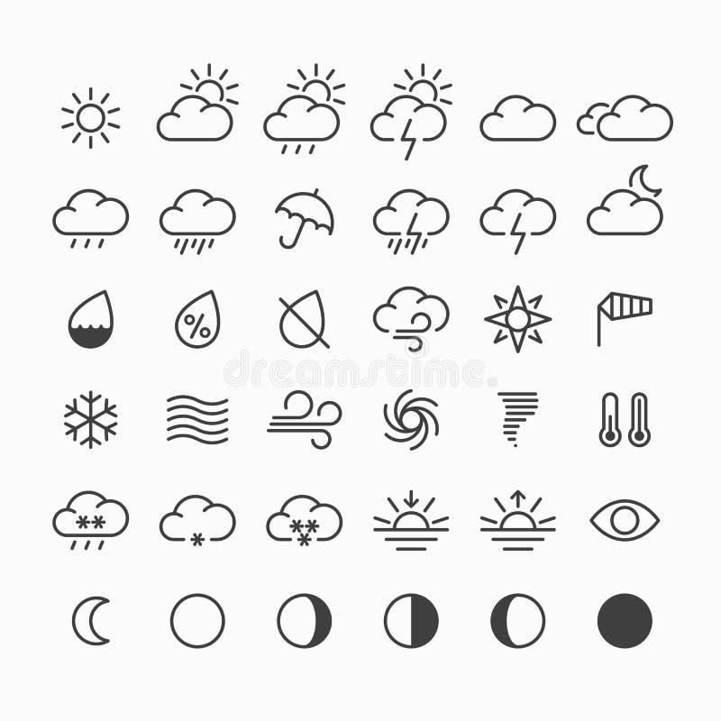 obłocznych ikon podeszczowa słońca pogoda ilustracja wektor